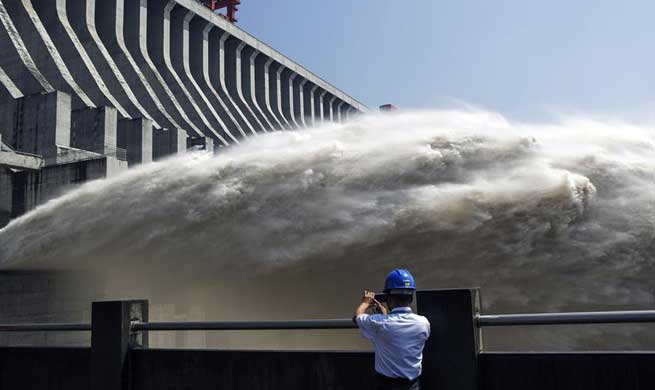 In pics: water discharges from Three Gorges Dam