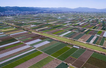 Aerial view of farmland scenery in SW China's Yunnan