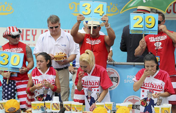 Hot dog eating contest held in New York