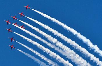 British Royal Air Force aerobatic team performs in Doha