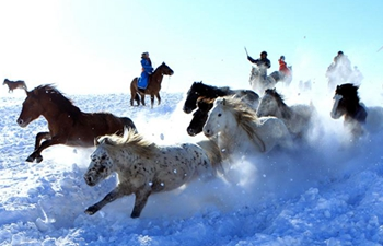 Herdsmen tame horses on snow-covered pasture in N China