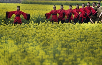 People present Han-style costumes during show at cole flower field in NW China
