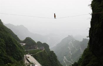 Slackline contest held in Zhangjiajie, C China's Hunan