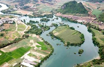 Scenery along banks of Heishui River in south China's Guangxi