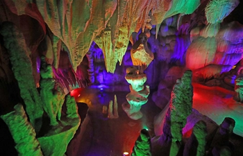 Inner scenery of Tieling Karst Cave in NE China's Liaoning